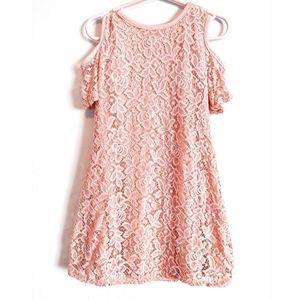 Pink lace cold shoulder dress